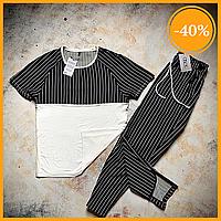 Мужской летний комплект Asos Stripe Summer 2020. Мужской комплект футболка и штаны в полоску черный