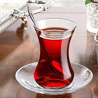 Набор стаканов-армудов для турецкого чая с блюдцем Pasabahce Aida 6 шт (96308)