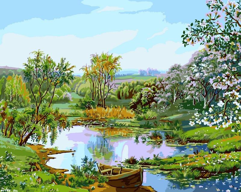 Картина по номерам 40×50 см. Babylon Цветущий берег Художник Виктор Цыганов (VP166)