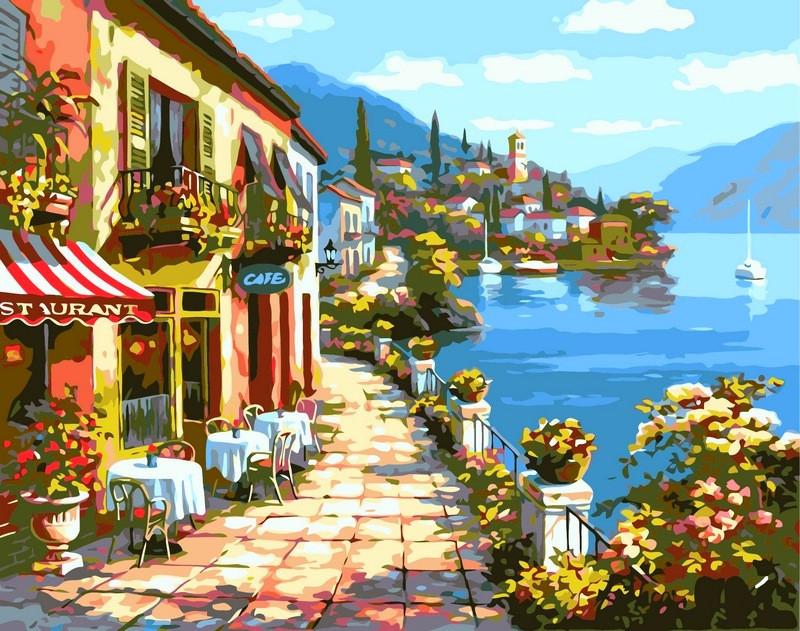 Картина по номерам 40×50 см. Babylon Уютное кафе Художник Сунг Ким (VP017)