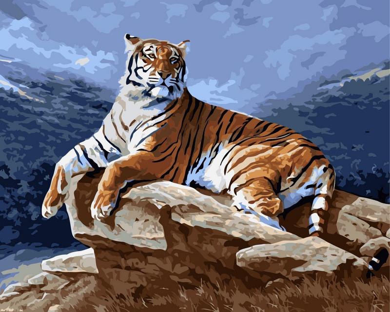Картина по номерам 40×50 см. Babylon Тигр на рассвете Художник Рейбел Реймонд (VP239)