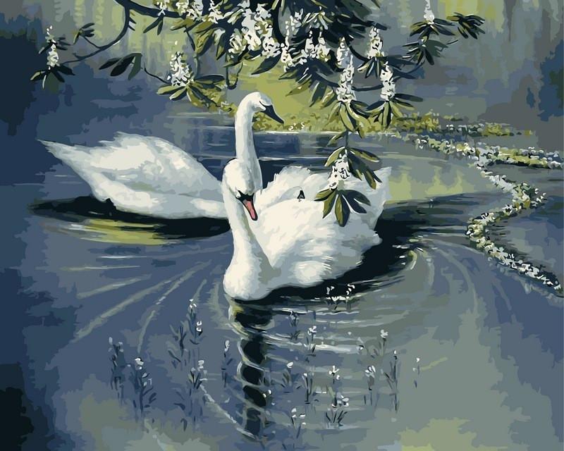 Картина по номерам 40×50 см. Babylon Пара лебедей Художник Александр Макс Кёстер (VP233)