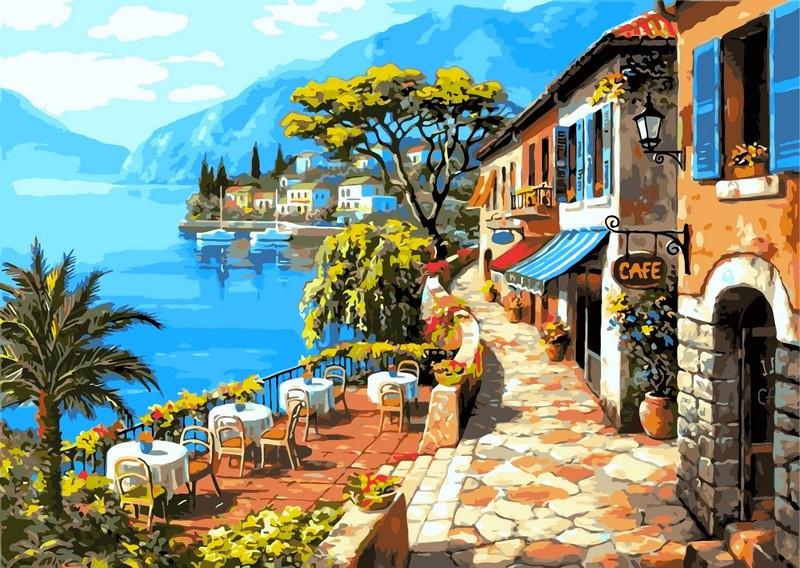 Картина по номерам 40×50 см. Babylon Кафе у моря Художник Сунг Ким (VP016)