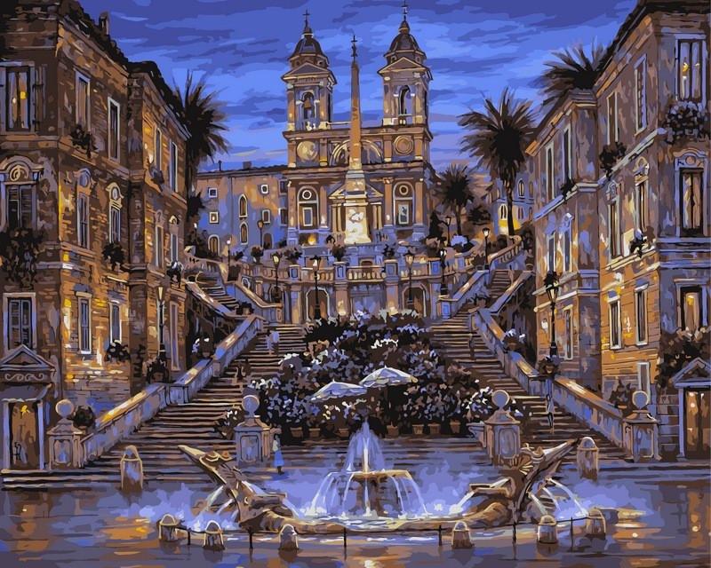 Картина по номерам 40×50 см. Babylon Испанская лестница в Риме Художник Роберт Файнэл (VP042)