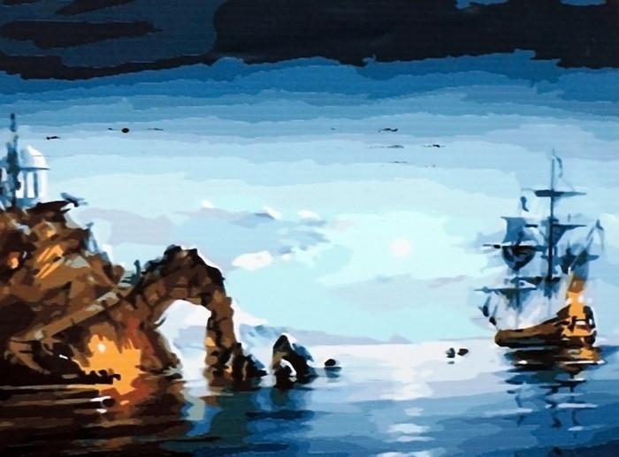 Картина по номерам 40×50 см. Babylon Лунная ночь (корабль) Художник Романов Роман (MS416)