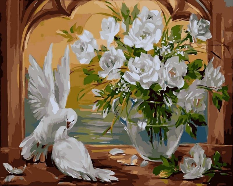 Картина по номерам 40×50 см. Babylon Голуби и розы (VP-307)