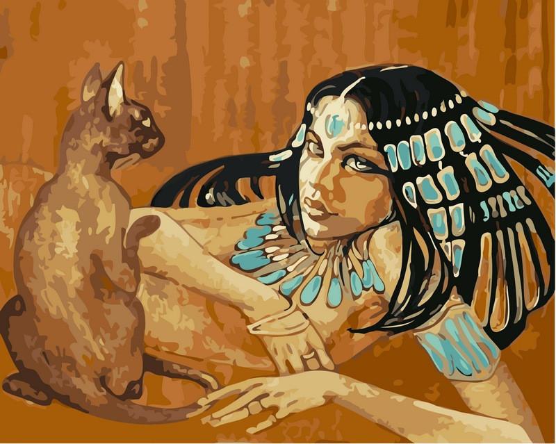 Картина по номерам 40×50 см. Babylon Египтянка с кошкой Художник Фаттах Галла (VP-424)