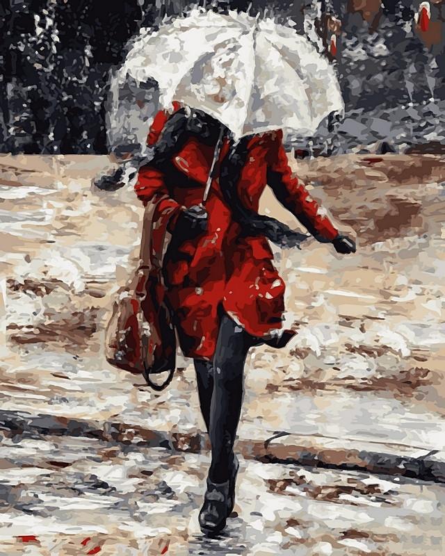 Картина по номерам 40×50 см. Babylon Девушка в красном пальто (VP 511)
