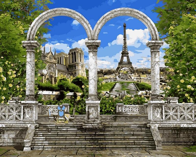 Картина по номерам 40×50 см. Babylon Париж Арка и вид на Эйфелеву башню (VP 518)
