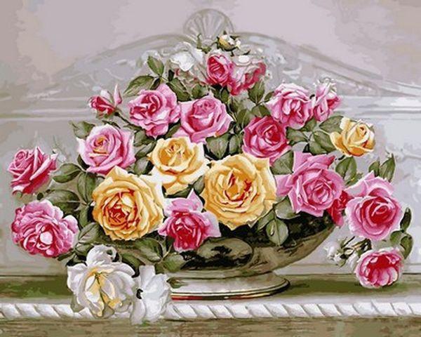 Картина по номерам 40×50 см. Babylon Роскошные розы (VP 576)