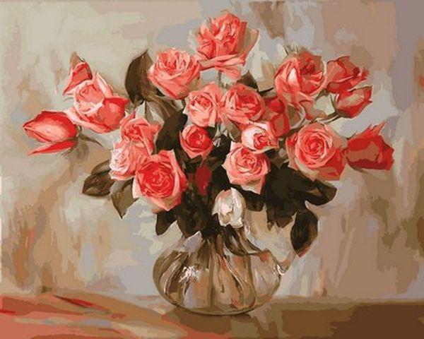Картина по номерам 40×50 см. Babylon Коралловые розы (VP 578)