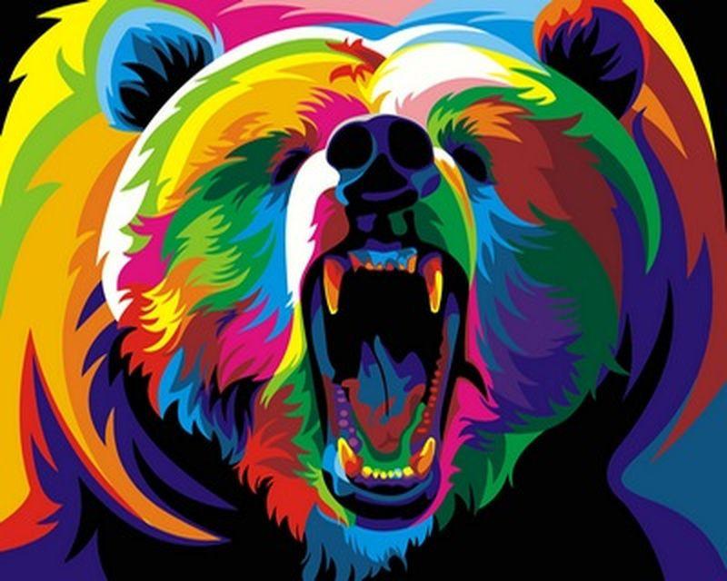 Картина по номерам 40×50 см. Babylon Радужный медведь Художник Ваю Ромдони (VP 600)