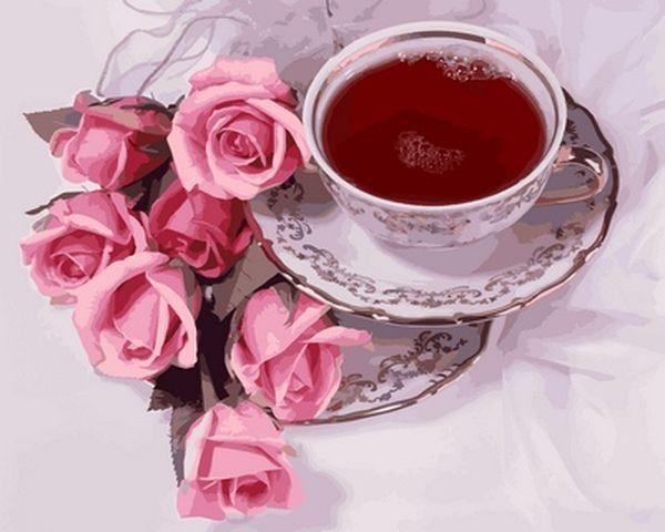 Картина по номерам 40×50 см. Babylon Чашка кофе и розы (VP 737)