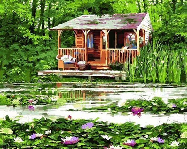 Картина по номерам 40×50 см. Babylon Домик у озера Художник Ричард Макнейл (VP 803)