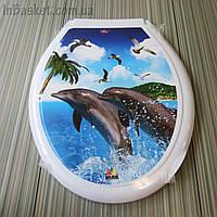 Крышка на унитаз с рисунком Дельфин