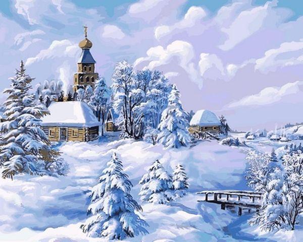Картина по номерам 40×50 см. Babylon Зима в деревне Художник Виктор Цыганов (VP 818)