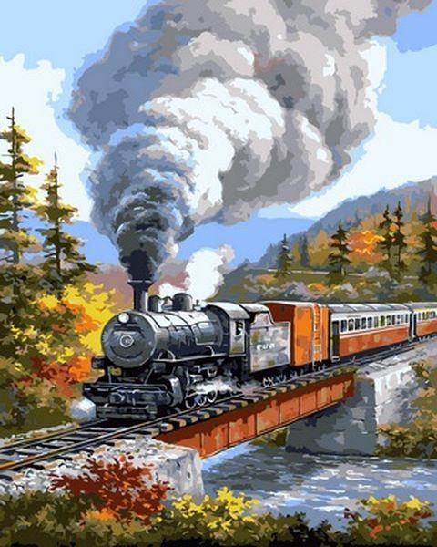 Картина по номерам 40×50 см. Babylon Поезд на мосту Художник Сунг Ким (VP 827)
