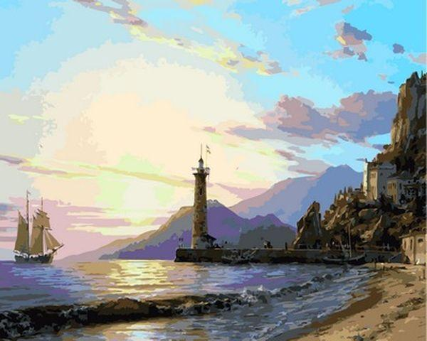 Картина по номерам 40×50 см. Babylon Маяк в приморском городе Художник Валерий Черненко (VP 859)