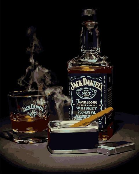 Картина по номерам 40×50 см. Babylon Виски Джек Дэниэлс и сигара (VP 1114)
