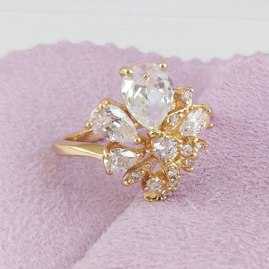 Кольцо Xuping Jewelry размер 19,5 Айви медицинское золото позолота 18К А/В 2-0175