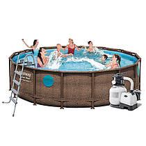 Каркасний басейн 56725 (488x122 см) ротанг,тент,сходи,насос,дозатор