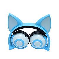 Навушники LINX Bear Ear Headphone навушники з вушками Лисички LED Блакитний