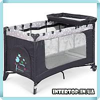 Детская манеж кровать с пеленальным столиком 2 в 1 El Camino Safe Plus ME 1054 Stars Gray серый