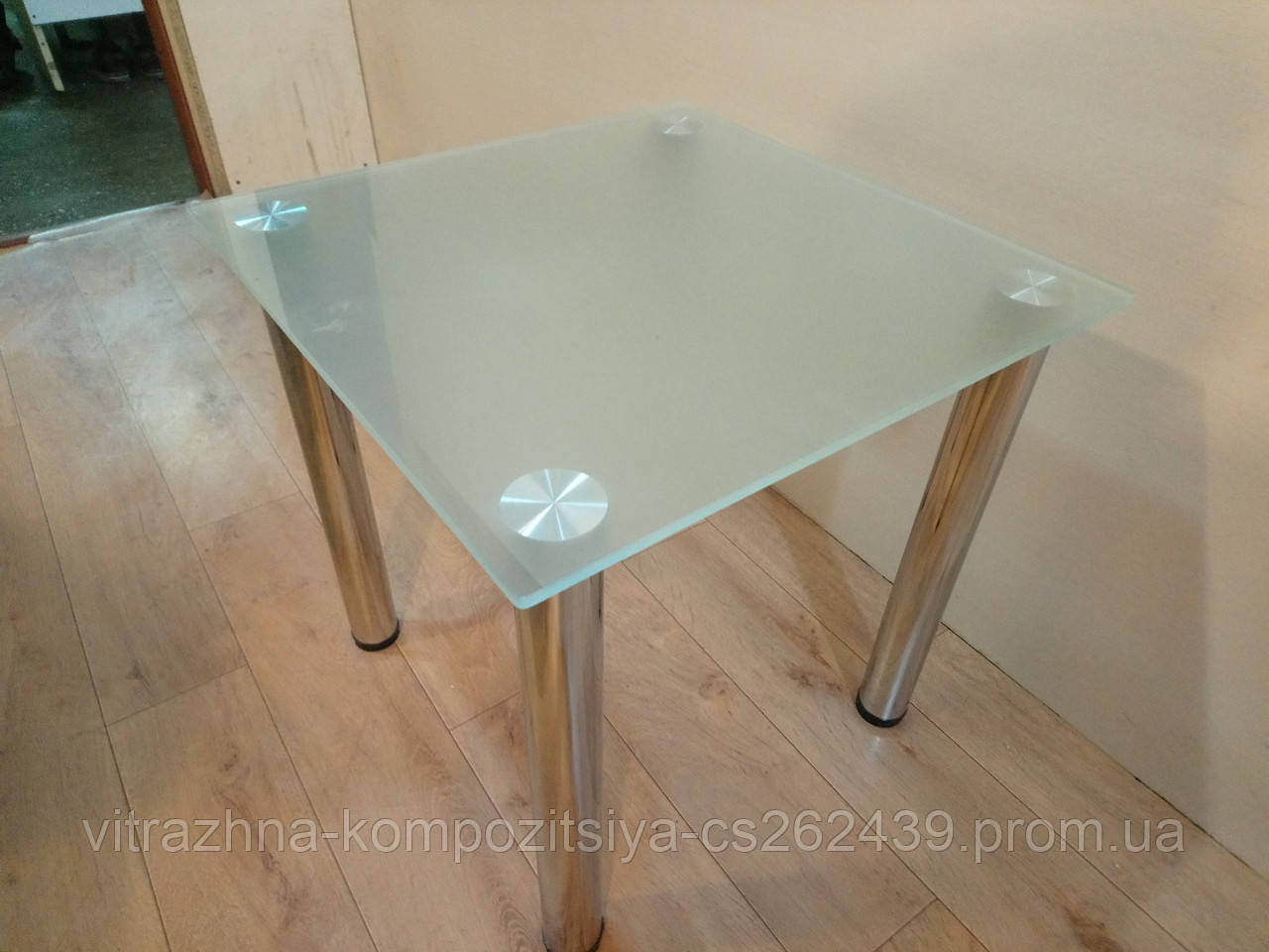 Кофейный стеклянный столик  Квадро-2 матовый 60×60×50 см