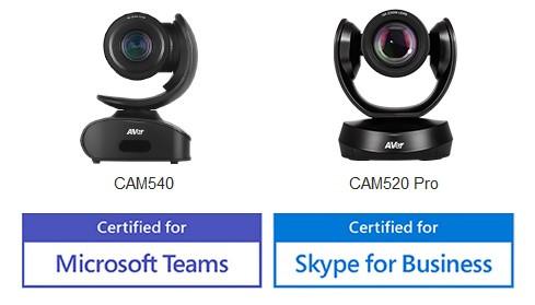 Aver CAM520 PRO и СФЬ540 сертифицированы камеры для Microsot Teams и Skype or Businessот компании Aver
