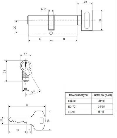 Циліндр APECS EC-60-AB (CIS), фото 2