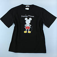 Чорні жіночі футболки з принтами з бавовни, оверсайз