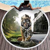 Пляжный круглый коврик, покрывало, подстилка принт тигр