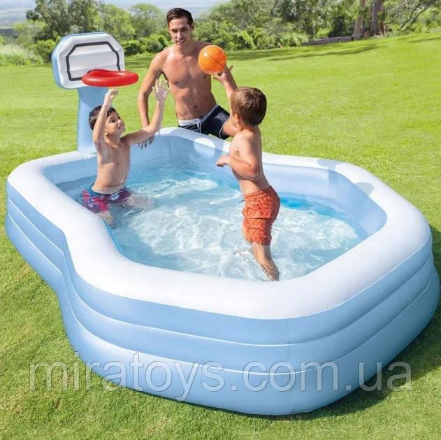 Детский надувной бассейн Intex 57183, 257 х 188 х 130 см (с баскетбольным кольцом)