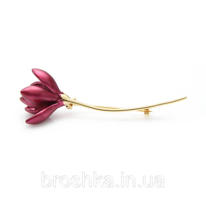 Позолоченная брошь красный цветок без камней бижутерия