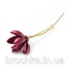 Позолоченная брошь красный цветок без камней бижутерия, фото 2