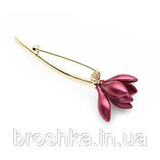 Позолоченная брошь красный цветок без камней бижутерия, фото 3