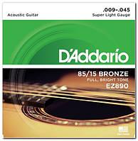 Струны для акустической гитары D`ADDARIO EZ890 BRONZE SUPER LIGHT 9-45