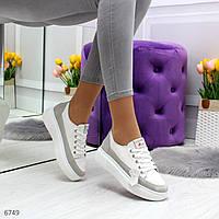 Белые кожанные кроссовки на подошве 4см с серым замшевым  декором..Размер 36 37 38 39 40   41