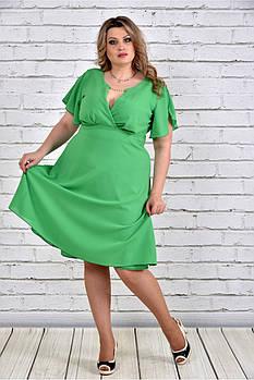 / Размер 66 / Женское нарядное платье клеш 0283 цвет зеленый