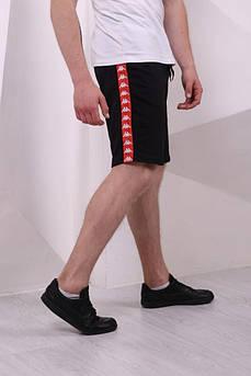 Мужские шорты Карра черные с красными лампасами каппа размер S