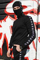 Свитшот утеплённый чёрный с чёрно-белыми лампасами Adidas