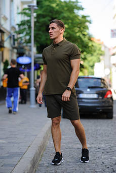 Костюм шорты и футболка хаки шорты и хаки футболка поло размер M