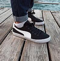 Чорні кеди PUMA suede тканинні чоловічі кросівки в стилі ПУМА чорні кеді чоловічі кросівки