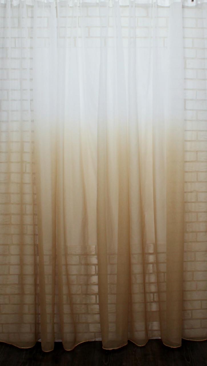 """Тюль растяжка """"Омбре"""" на батисте (под лён) с утяжелителем, цвет песочный с белым 580т"""