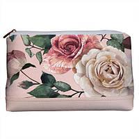 Женская косметичка Lovely Розы на пудровом фоне 26*15*8 см (KK_FFL016_PUD)