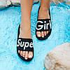 Super Girl черные Шлепки резиновые тапочки тапки женские пляжные шльопанці гумові тапочки чорні, фото 5
