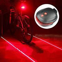 Велофонарь задний + Лазерный габарит! (велофара мигалка)