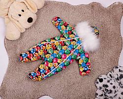 Зимний детский комбинезон на двух молниях с принтом M&M's 0-6 месяцев