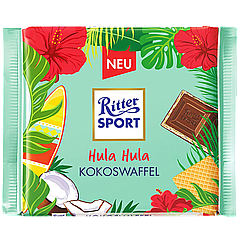 Шоколад Ritter Sport COCOCWAFFEL (Молочный шоколад с кокосовой начинкой и вафлей) 100г (1ящ/10шт)