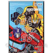 Альбом для рисования 30 л, A4, спираль, KITE / Transformers 4